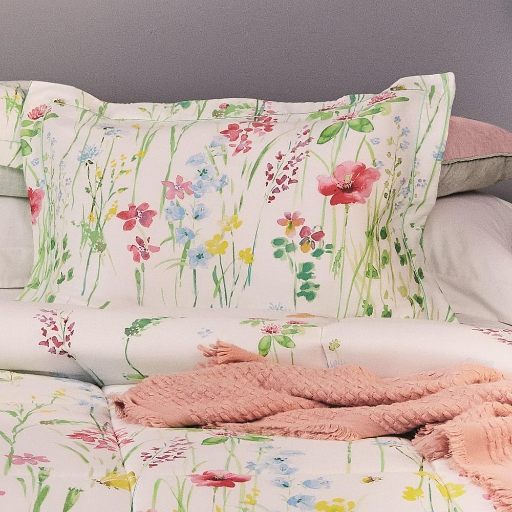 jogo de cama solteiro lepper 200 fios 100% algodão jardim iluminado