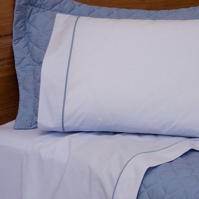 jogo cama casal scavone 200 fios básico stripes azul