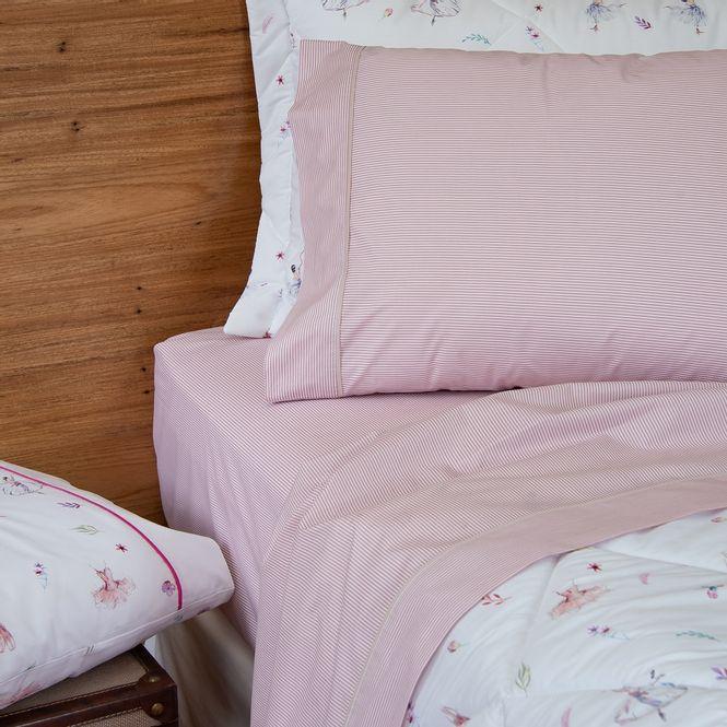 jogo cama queen scavone 200 fios básico stripes rosa