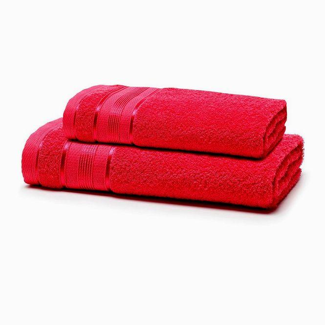 jogo toalhas banho santista 2p royal knut cereja 4005