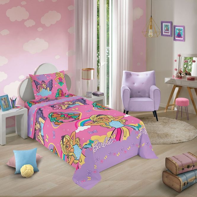jogo cama infantil lepper 3p microfibra barbie reino mágico 59531