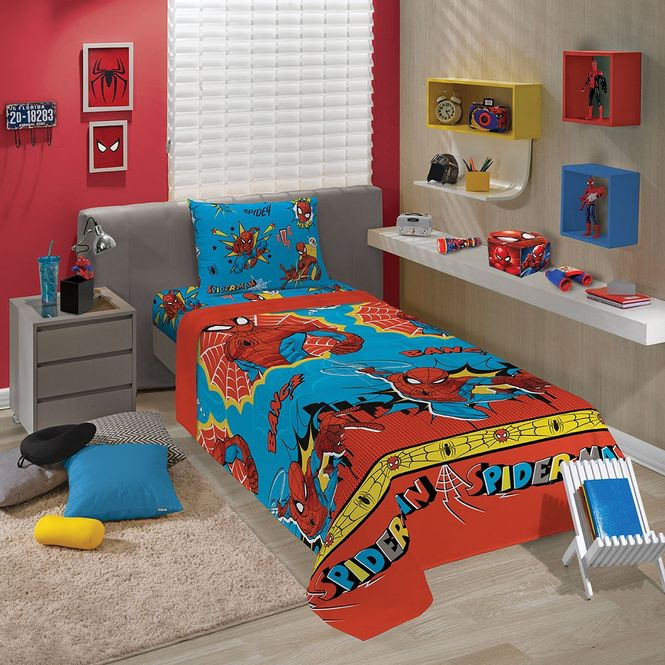 jogo cama infantil lepper 3p microfibra spider man 05947501