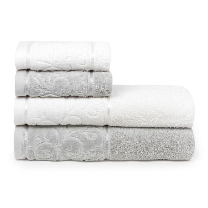 jogo toalhas banho santista 4p unique anette branco cinza