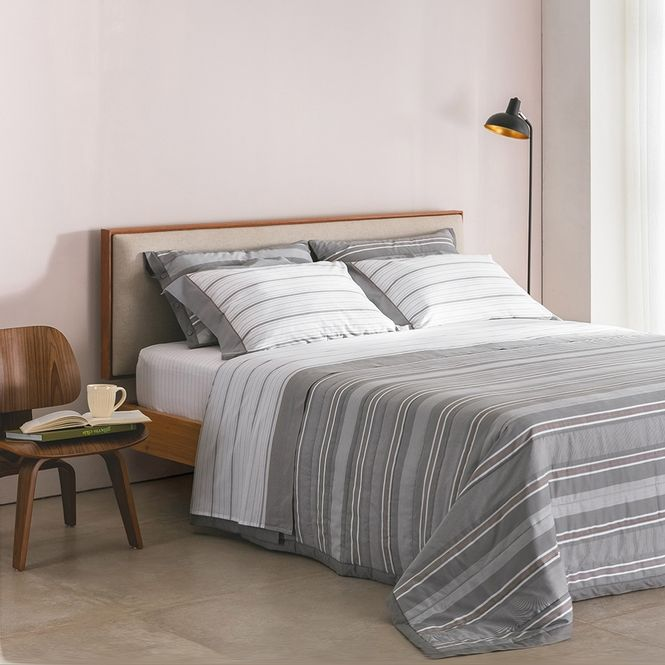 jogo de cama queen buddemeyer 180 fios 100% algodão percalle oxford cinza