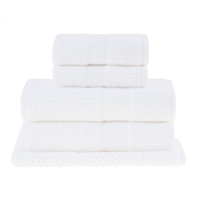 jogo toalhas banhão buddemeyer 5p fio penteado branco
