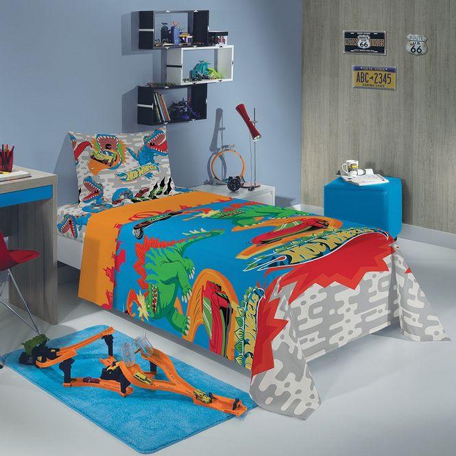 jogo cama infantil lepper 3p microfibra hot wheels