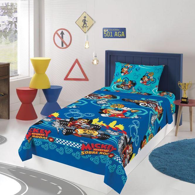 jogo cama infantil lepper 3p microfibra mickey aventura s/ rodas