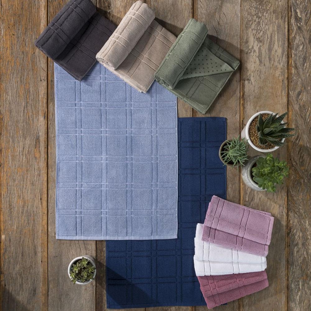 toalha de piso santista 100% algodão antiderrapante square marinho