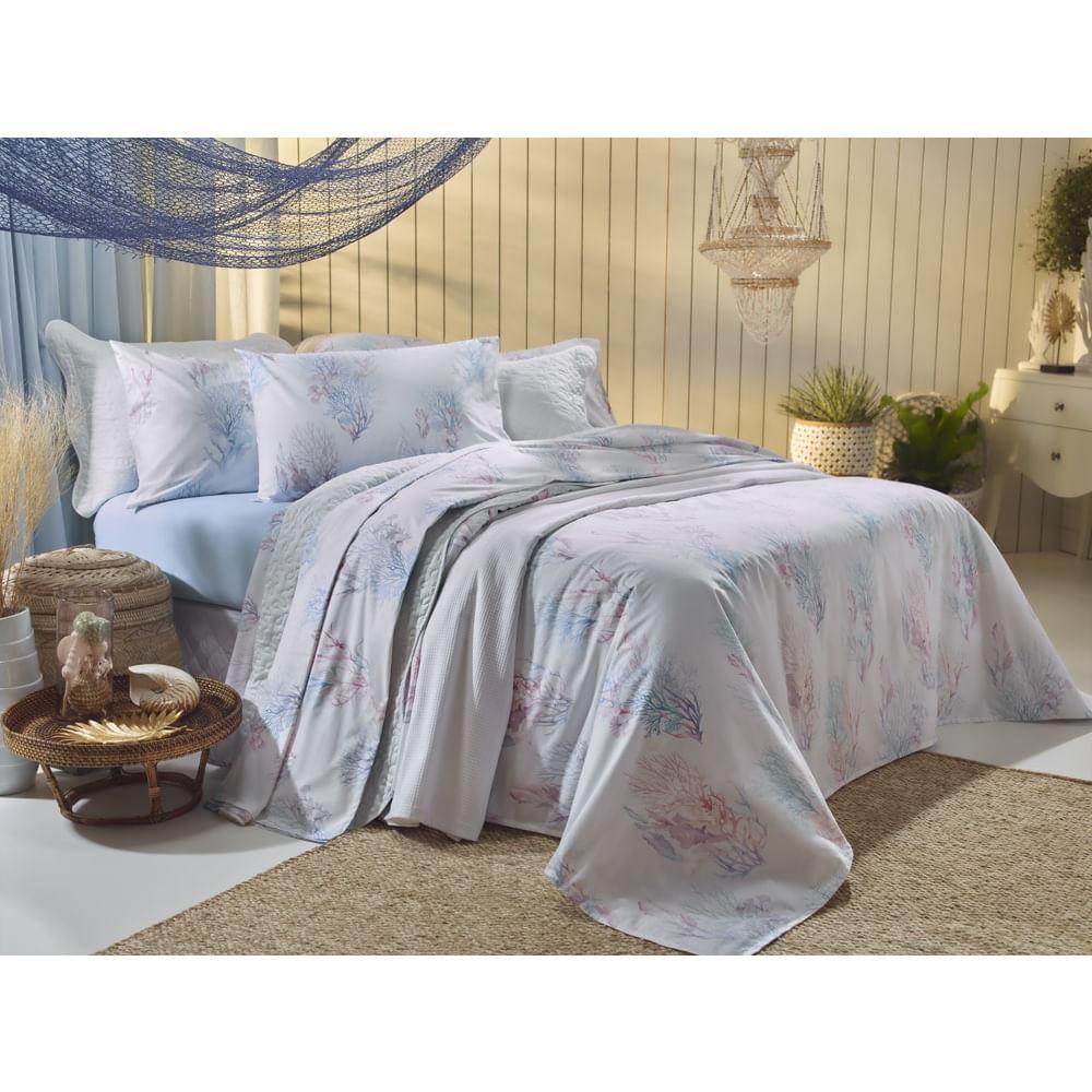 jogo cama queen santista 180 fios capri azul