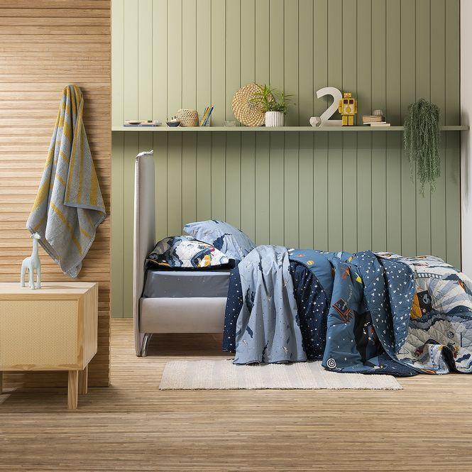 jogo cama infantil artex 180 fios alakazam azul