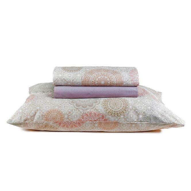 jogo cama solteiro santista 180 fios dharma lilás