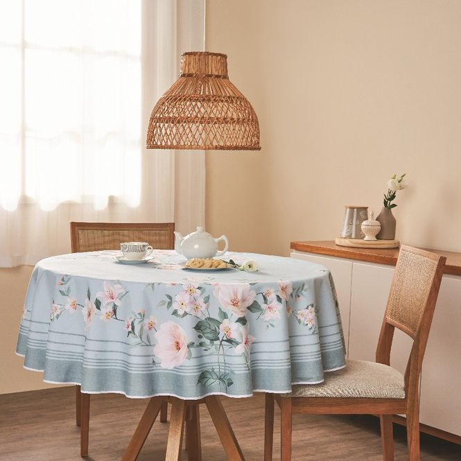 toalha mesa casa com casa redonda 4 lugares poema florido