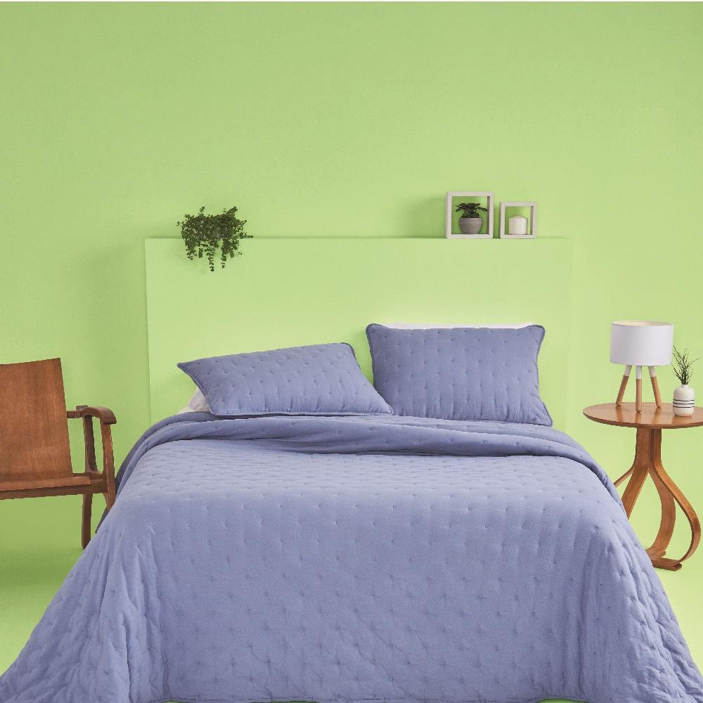 kit cobre leito casal casa com casa poá encantado azul