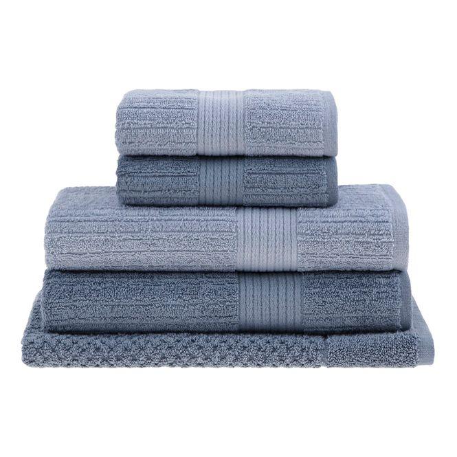 jogo toalhas banho buddemeyer 5p fio penteado azul 0105