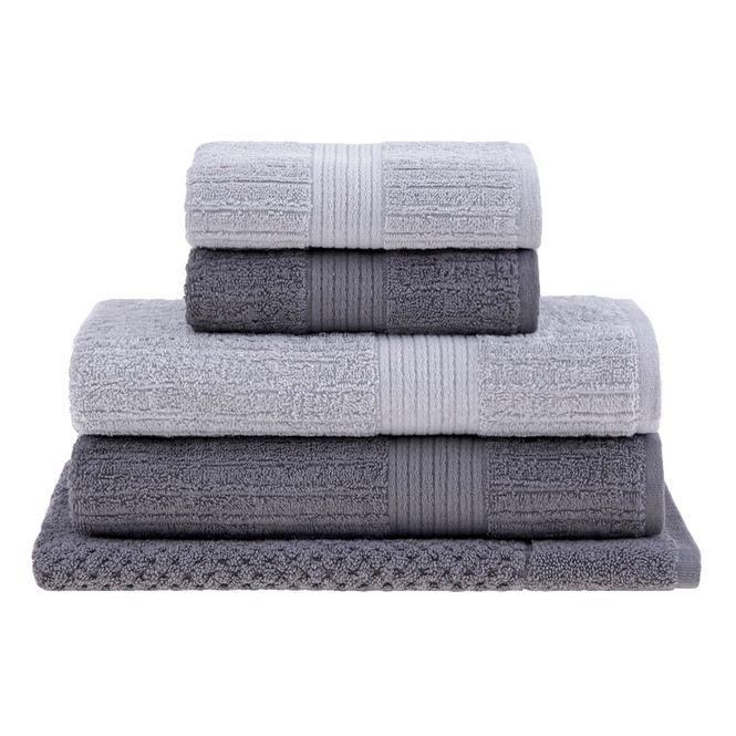 jogo toalhas banho buddemeyer 5p fio penteado cinza 0108