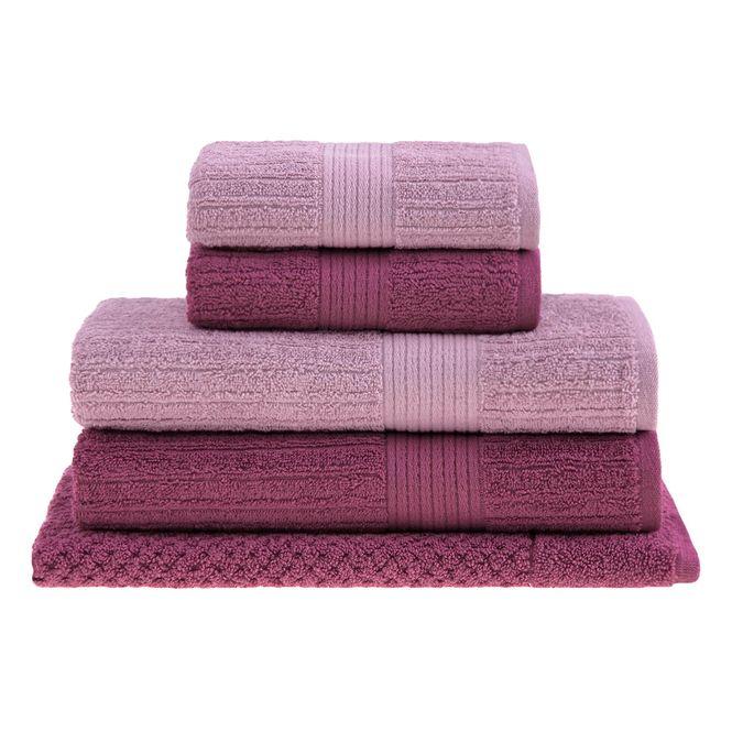jogo toalhas banho buddemeyer 5p fio penteado rosa 0109