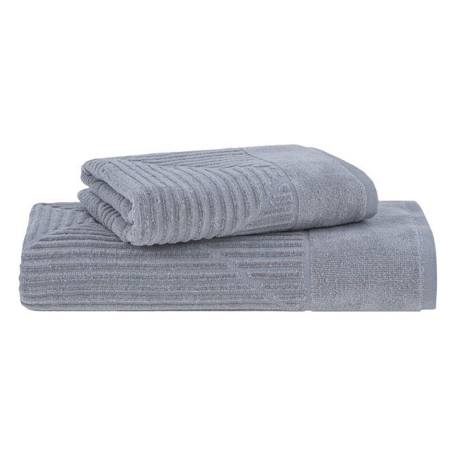 jogo toalhas banho buddemeyer 2p martine cinza